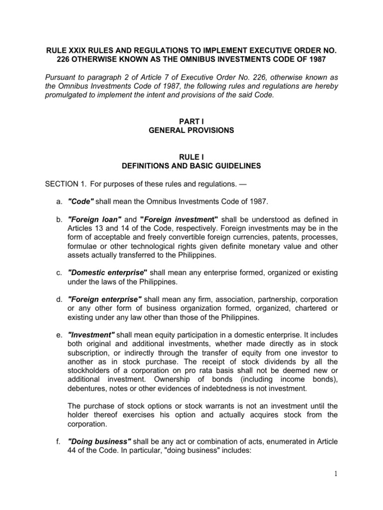 Executive order 226 omnibus investment code daily forex school org