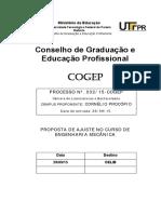 UTFPR - Proposta de Ajuste No Curso de Engenharia Mecânica