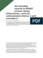 Eglas Sobre Facultad Discrecional de La SUNAT Para Sancionar Ciertas Infracciones