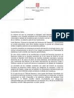 La carta que el president del Parlament, Roger Torrent, ha enviat al Tribunal Suprem (Castellà)