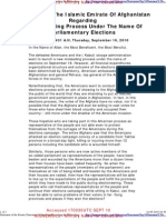 """""""Statement of the Islamic Emirate of Afghanistan Regarding the Misleading Process under the Name of Parliamentary Elections"""""""