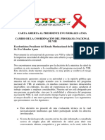 Carta Abierta Presidente Sobre Cambio Coordinacion PNS