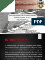 DISEÑOS Y METODOS de EXPLOTACION Shrinkage Almacenamiento Provisional