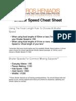 SHP Shutter Speed Cheat Sheet