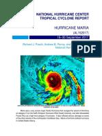 Informe final del Centro Nacional de Huracanes sobre el ciclón María