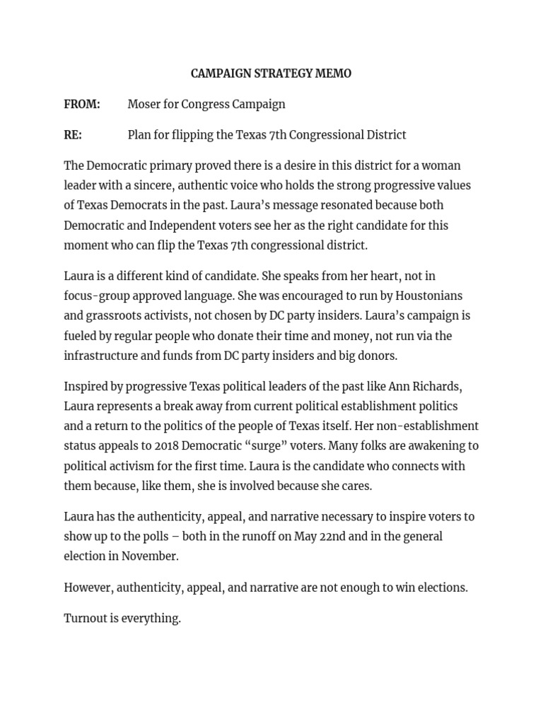 Strategy Memo | Moser Campaign Strategy Memo Two Round System Democratic Party