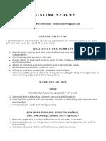 kristina sedore resume for school 2018