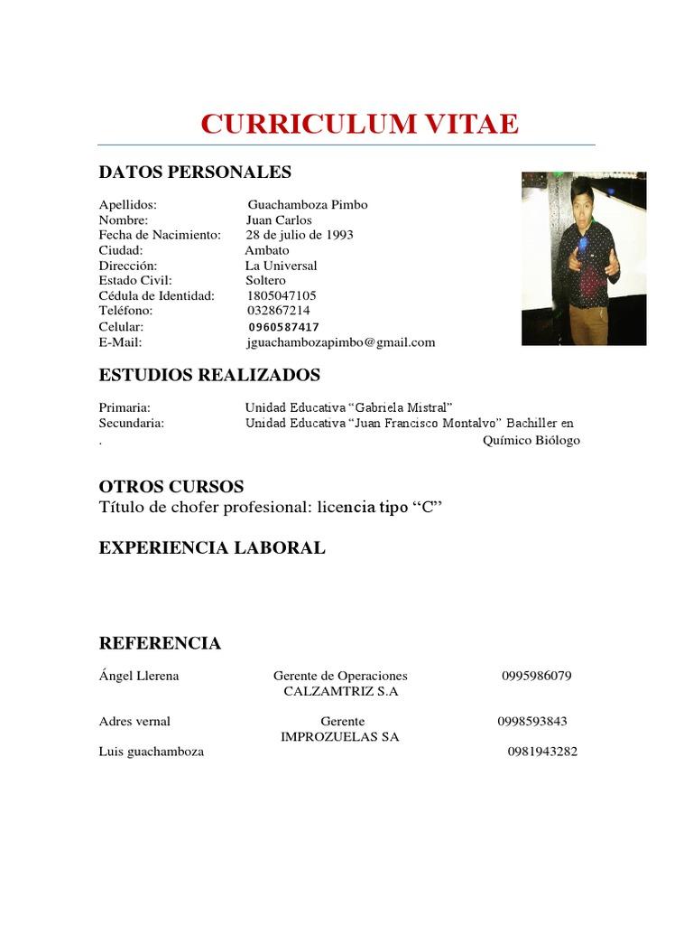 Juan Carlos Curriculum
