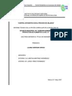 Control Estadistico de El Proceso HELADO