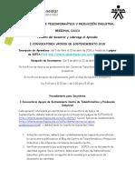 Convocatoria Apoyos de Sostenimiento CTPI 2018