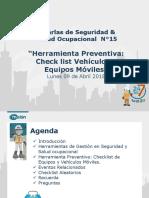 Charla N°15 Herramientas de seguridad Checklist  09-04-2018