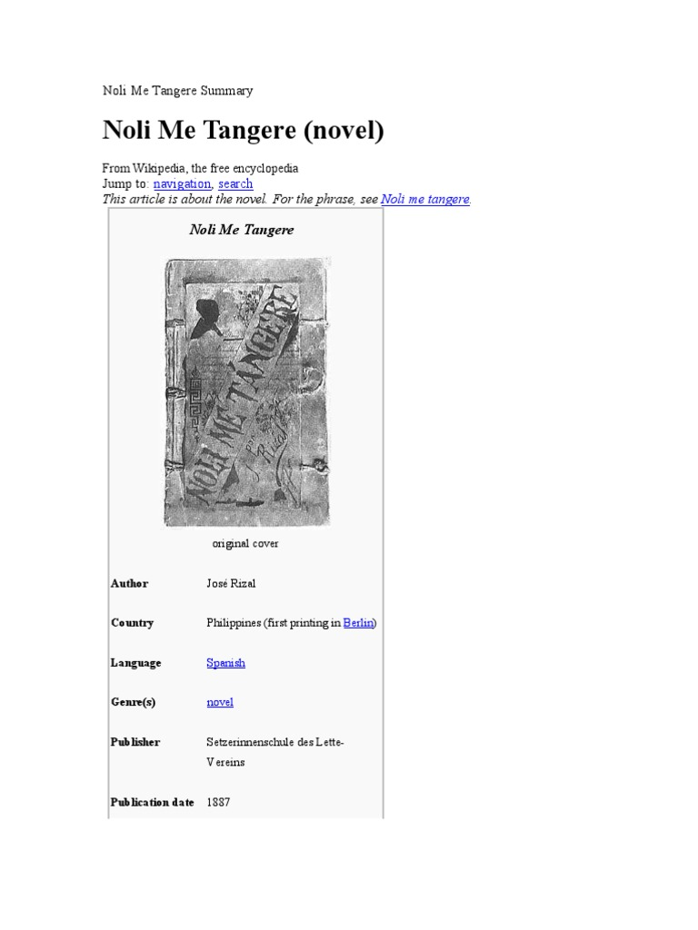 noli me tangere summary per chapter tagalog