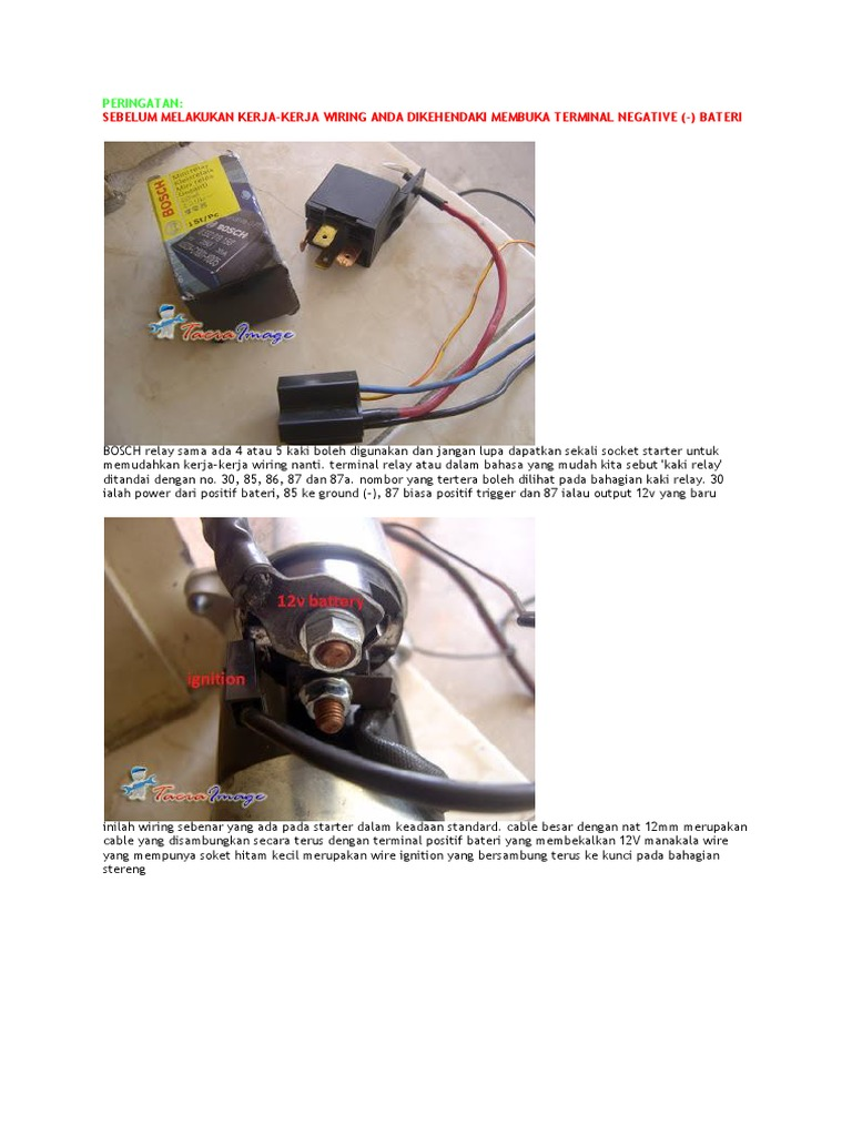 Wiring Relay Pada Stator Standard 12v