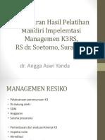 Pemaparan Hasil Pelatihan Mandiri Impelemtasi Managemen K3RS,