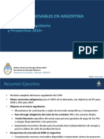ARGENTINA - Energias Renovables - Nuevo Marco Regulatorio y Perspectivas 2016