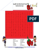 Color My Plate Rainbow Foods Healthy Red Fruits Vegetable Wordsearch