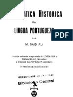 gramática histórica da língua portuguesa