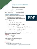 3. Operaciones Algebraicas Suma y Resta
