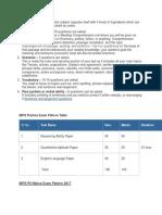 IBPS Prelims Exam Pattern Table