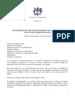 09 04 2018 Transcription Du Discours Du President de La Republique Devant Les Eveques de France