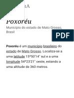 Poxoréu – Wikipédia, A Enciclopédia Livre