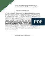 Aviso de Transformación de Una Sociedad Responsabilidad Limitada (s.r.l) a Eirl