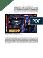 Web Judi Poker Dominoqq Online Terpercaya Bagi Kartu JP
