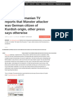 Germany_ Romanian TV Reports That Münster Attacker Was German Citizen of Kurdish Origin, Other Press Says Otherwise