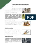 Momentos e Inventores Históricos de Las Maquinas
