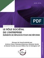 Le rôle sociétal de l'entreprise – Eléments de réflexion pour une réforme