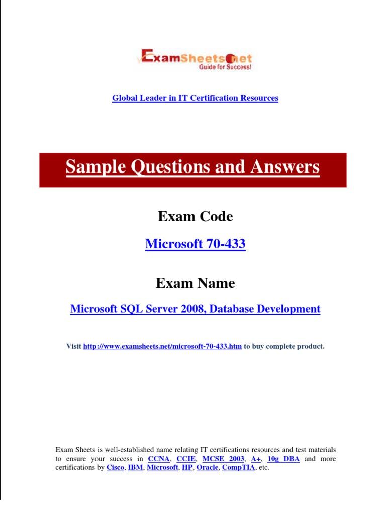 70 433 Database Index Microsoft Sql Server