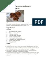 Filet Migñon Con Salsa de Champiñones