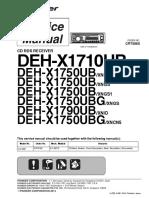 Pioneer Deh-x1710ub x1750ub x1790ub Crt5565 Car Audio