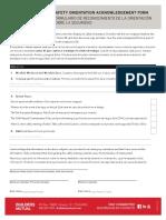 Safety Orientation Acknowledgement Form