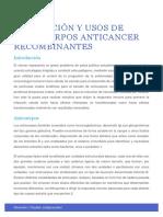 Producción y Usos de Anticuerpos Anticancer Recombinantes YAA