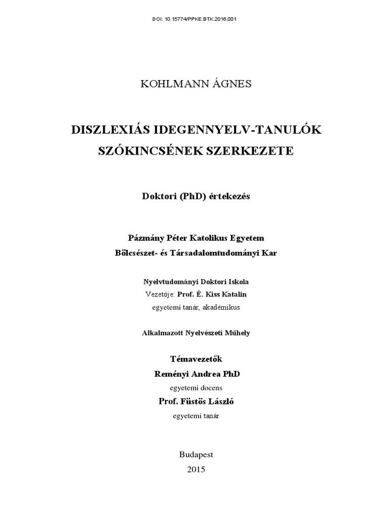 ed02cd8433c7 Diszlexiás Idegennyelv-Tanulók Szókincsének Szerkezete: Kohlmann Ágnes