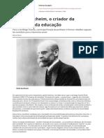 Emile Durkheim o Criador Da Sociologia Da Educacao