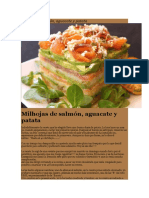 Milhojas de Salmón, Aguacate y Patata