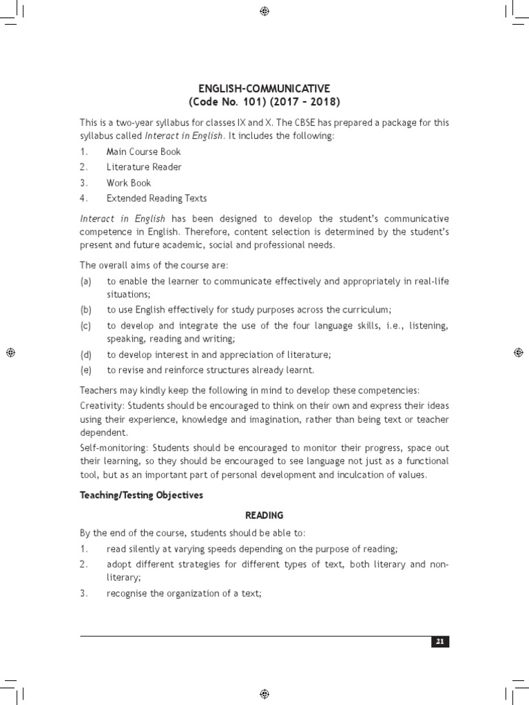 Class 9 10 Curriculum English 1 | Reading Comprehension | Verb