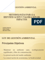 Ley de Gestión Ambiental Metodologías Para La Identificación y Valoración de Impactos