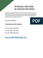 JUAL BATA RINGAN / BATA HEBEL SURABAYA, SIDOARJO DAN GRESIK - 082257888307