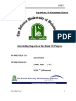 Internship Report on Bank of Punjab 2009 by Kashif MBA Finance 03347019007