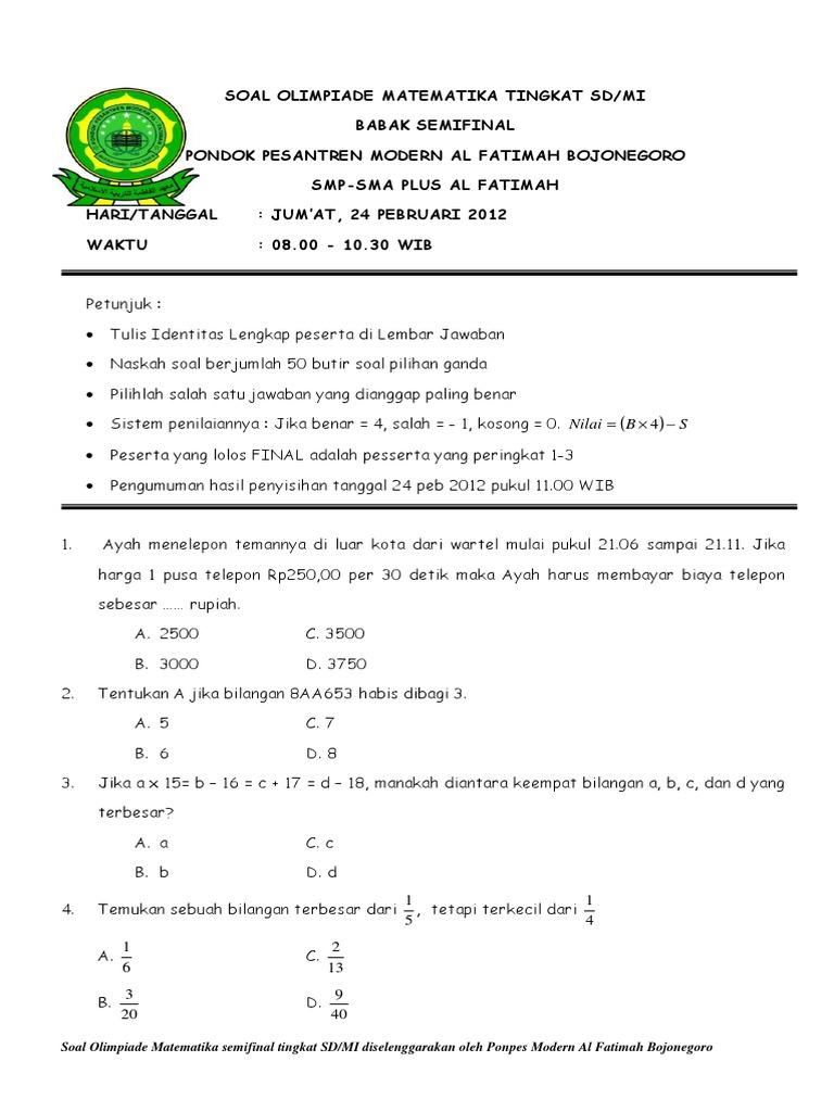 Latihan Soal Olimpiade Matematika Sd Ilmusosial Id