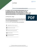 El Papel de Los Microorganismos en La Elaboraci n Del Vino the Role of the Microorganisms in Winemaking o Papel Dos Microorganismos Na Elaboraci n Do