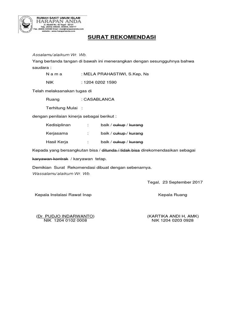 Surat Rekomendasi Perawat