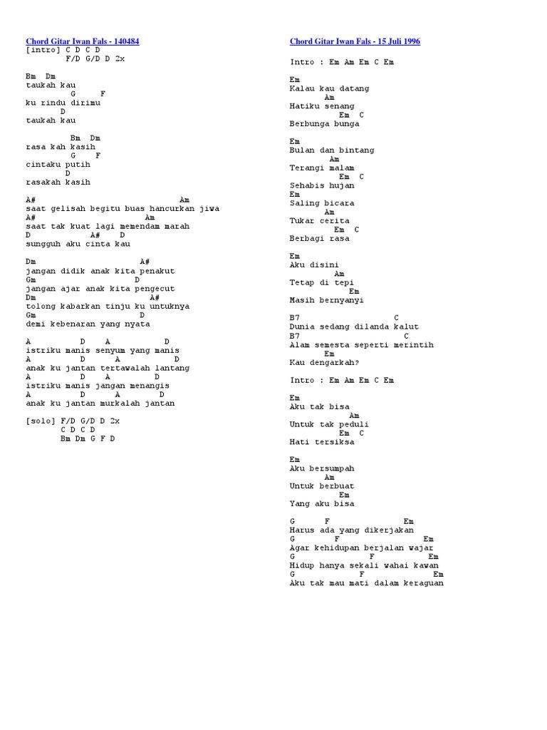 Chord Gitar Iwan Fals Denting Chord Gitar Lagu Lagu Kenangan