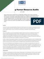 Conducting Human Resource Audits