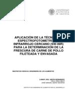 Aplicación de La Técnica de Espectrofotometría de Infrarrojo Cercano (Sw-nir) Para La Determinación de La Frescura de Carne de Pollo Fileteada y Envasada