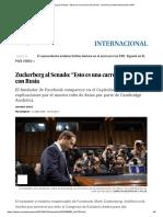 """Zuckerberg Al Senado_ """"Esto Es Una Carrera de Armas"""" Con Rusia _ Internacional _ EL PAÍS"""