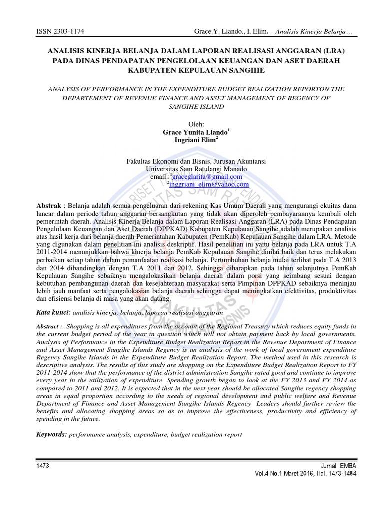3017 Id Analisis Kinerja Belanja Dalam Laporan Realisasi Anggaran Lra Pada Dinas Pendapa